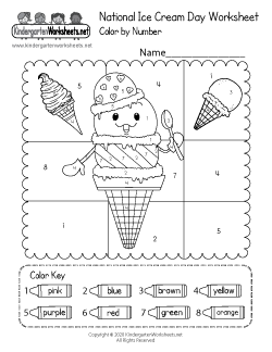National Ice Cream Day Worksheet