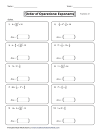 Exponents and Operations
